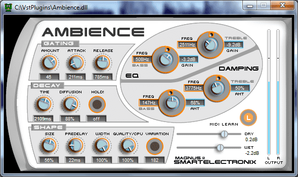 Ambience free reverb VST