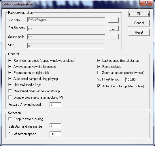 Wavosaur editor configuration